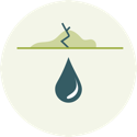 Icon of a water droplet dripping from ceiling