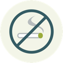 Icon of cigarette in a circle with a slash across